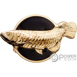 DRAGONFISH Pez Dragón Golden Arowana 2 Oz Moneda Plata 10$ Palau 2019