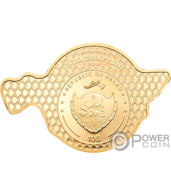 DRAGONFISH Golden Arowana 2 Oz Silver Coin 10$ Palau 2019