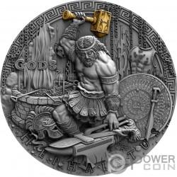 HEPHAESTUS Efesto Dio Fucine Gods 2 Oz Moneta Argento 2$ Niue 2019