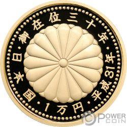 EMPEROR ENTHRONEMENT 30 Anniversario Moneta Oro 10000 Yen Japan Mint 2019