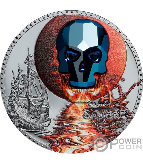 LUNA SANGRE Blood Moon Crystal Skull 1 Oz Silver Coin 1000 Francs Equatorial Guinea 2019