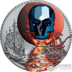 LUNA SANGRE Crystal Skull 1 Oz Moneda Plata 1000 Francos Equatorial Guinea 2019