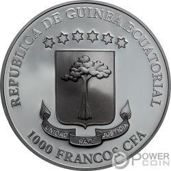 LUNA SANGRE Blood Moon Crystal Skull 1 Oz Серебро Монета 1000 Франков Экваториальная Гвинея 2019