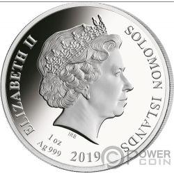 LEONARDO DA VINCI 500 Anniversario 1 Oz Moneta Argento 5$ Solomon Islands 2019