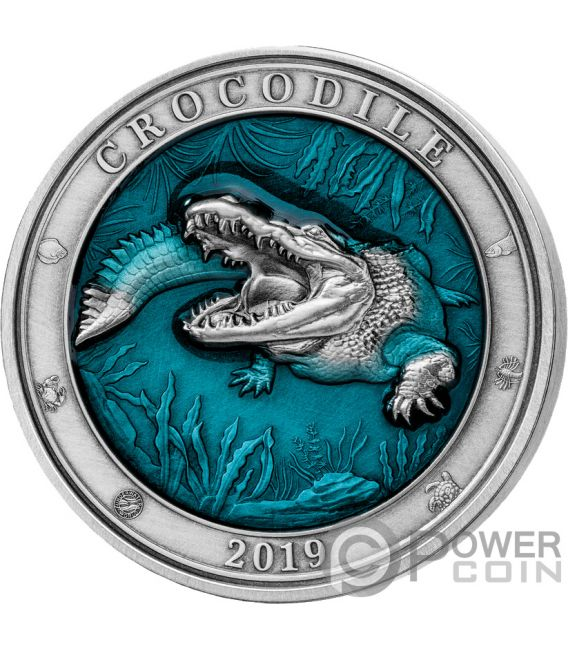 CROCODILE Krokodile Underwater World 3 Oz Silber Münze 5$ Barbados 2019