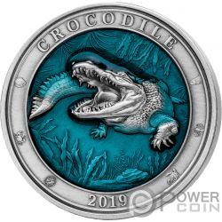 CROCODILE Cocodrilo Underwater World 3 Oz Moneda Plata 5$ Barbados 2019