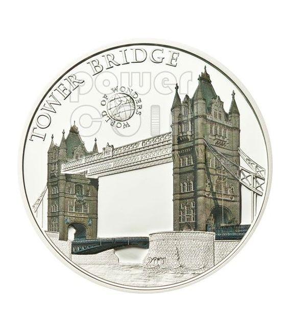 TOWER BRIDGE Londra World Of Wonders Moneta Argento 5$ Palau 2011