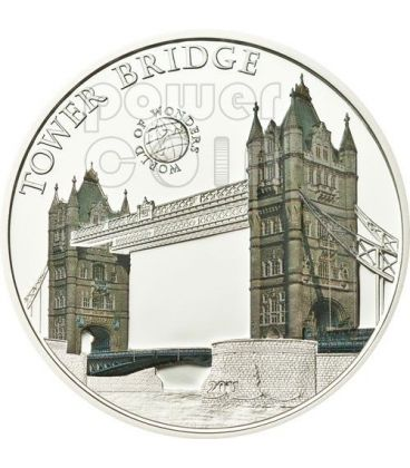 TOWER BRIDGE Londra World Of Wonders Moneta Argento 5$ Palau 2011