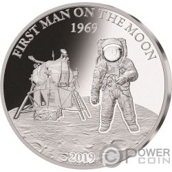 MOON LANDING Luna 50 Anniversario Proof 1 Oz Moneta Argento 5$ Barbados 2019