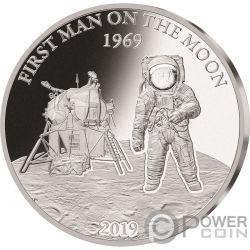 MOON LANDING Луна 50 Юбилей Proof 1 Oz Монета Серебро 5$ Барбадос 2019