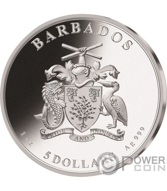 MOON LANDING Mond 50 Jahrestag Proof 1 Oz Silber Münze 5$ Barbados 2019