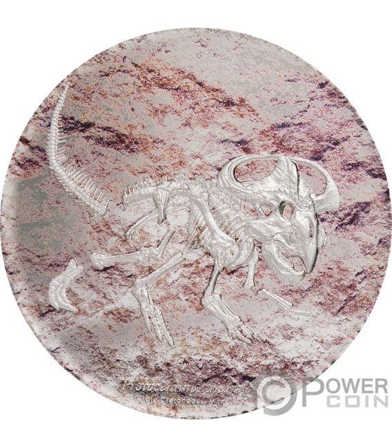 PROTOCERATOPS Prehistoric Beasts 3 Oz Moneda Plata 2000 Togrog Mongolia 2019