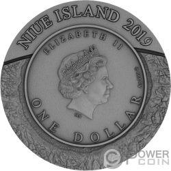 SPACE MINING II Raumstation Bergbau 1 Oz Silber Münze 1$ Niue 2019