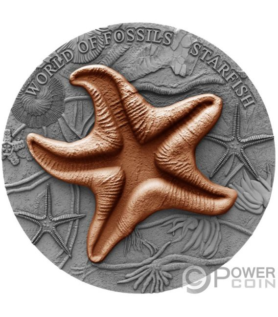 STARFISH World of Fossils 2 Oz Silver Coin 2$ Niue 2019