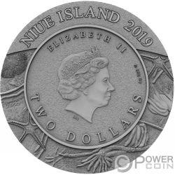 STARFISH Stella MarinaWorld of Fossils 2 Oz Moneta Argento 2$ Niue 2019