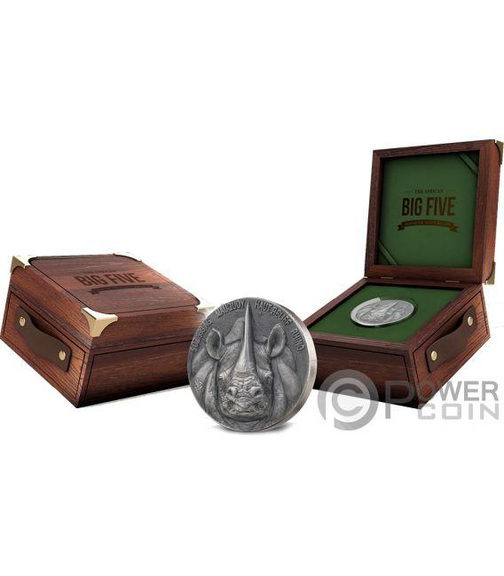 RHINO Big Five Mauquoy 5 Oz Silver Coin 5000 Francs Ivory Coast 2019