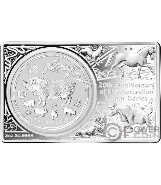 LUNAR SERIES Pig 20th Anniversary 1 Oz Silver Coin 2 Oz Set Australia 2019