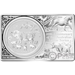 LUNAR SERIES Cerdo 20 Aniversario 1 Oz Moneda Plata 2 Oz Set Australia 2019