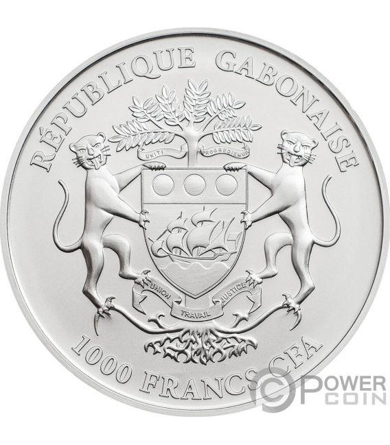 MOON LANDING 50th Anniversary Krugerrand 1 Oz Silver Coin 1000 Francs Gabon 2019
