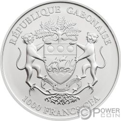 MOON LANDING 50 Anniversario Krugerrand 1 Oz Moneta Argento 1000 Franchi Gabon 2019