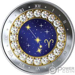 ARIES Widder Zodiac Swarovski Crystal Silber Münze 5$ Canada 2019