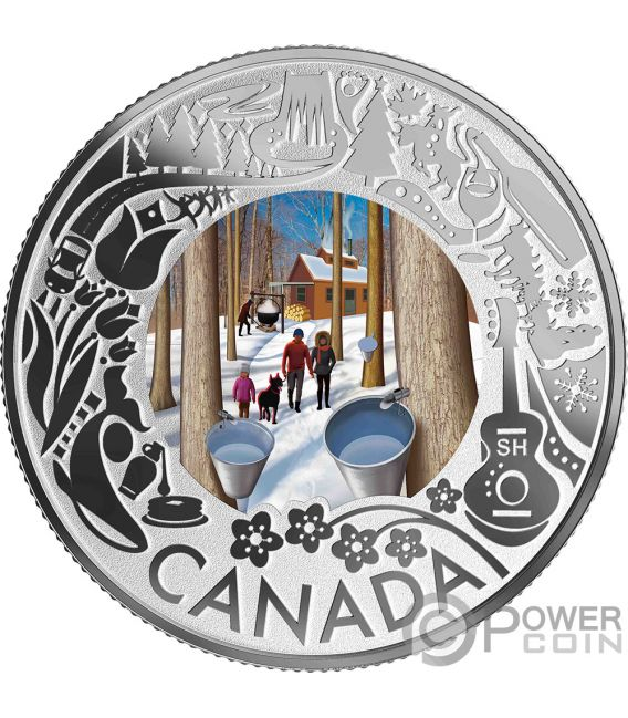 MAPLE SYRUP TASTING Degustacion de Jarabe de Arce Fun and Festivities Moneda Plata 3$ Canada 2019