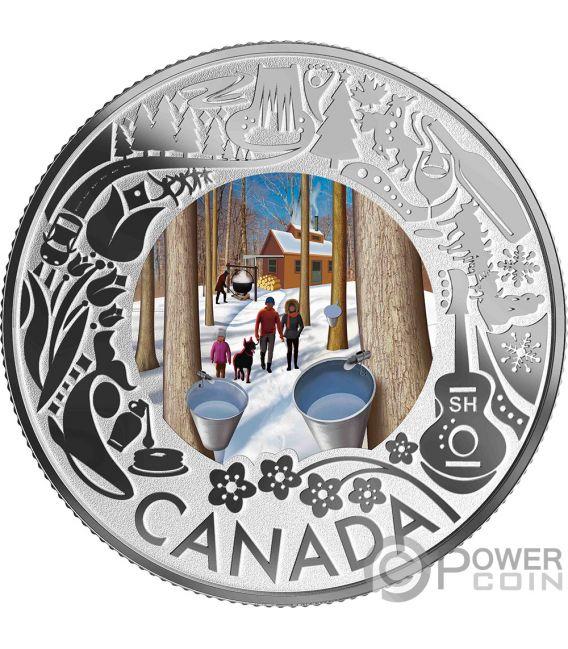 MAPLE SYRUP TASTING Дегустация Клинового Сиропа  Fun and Festivities Монета Серебро 3$ Канада 2019