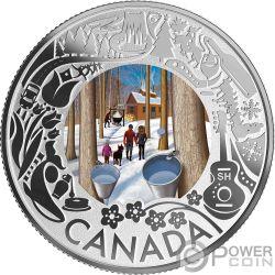 MAPLE SYRUP TASTING Degustazione Sciroppo d'Acero Fun and Festivities Moneta Argento 3$ Canada 2019
