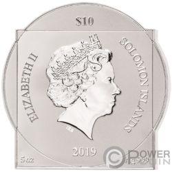 LEONARDO DA VINCI 500th Anniversario 5 Oz Moneta Argento 10$ Solomon Islands 2019