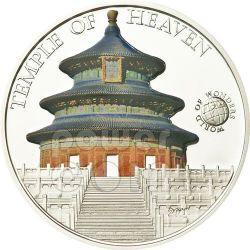TEMPIO DEL CIELO Pechino World Of Wonders Moneta Argento 5$ Palau 2011