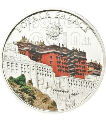 PALAZZO DEL POTALA Lhasa World Of Wonders Moneta Argento 5$ Palau 2011