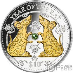RAT Green Freshwater Pearl Chinese Lunar Year 1 Oz Серебро Монета 10$ Фи́джи 2020