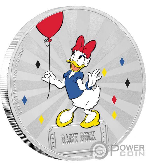 DAISY DUCK Friends Carnival Disney 1 Oz Silver Coin 2$ Niue 2019