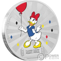 DAISY DUCK Paperina Friends Carnival Disney 1 Oz Moneta Argento 2$ Niue 2019