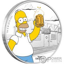 HOMER Simpsons 1 Oz Moneta Argento 1$ Tuvalu 2019
