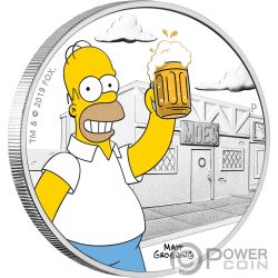 HOMER Simpsons 1 Oz Silber Münze 1$ Tuvalu 2019