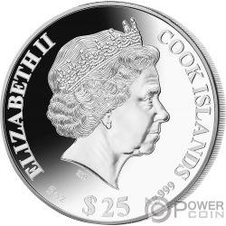 RAT Мышь Перламутр Lunar Year Серия 5 Oz Монета Серебро 25$ Острова Кука 2020