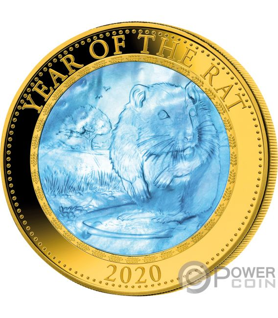 RAT Mother of Pearl Lunar Year Series 5 Oz Gold Coin 200$ Cook Islands 2020