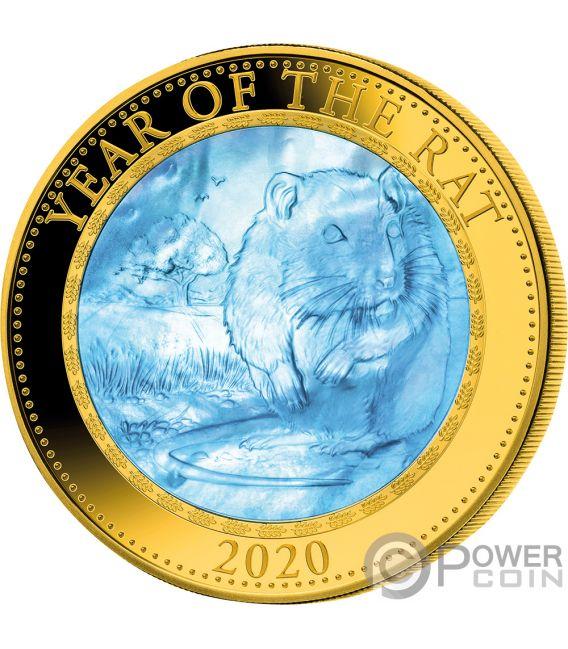 RAT Rata Lunar Year Series 5 Oz Moneda Oro 200$ Cook Islands 2020