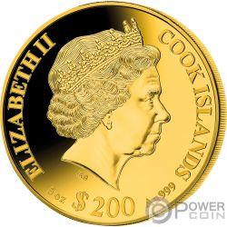 RAT Mother of Pearl Lunar Year Series 5 Oz Золото Монета 200$ Острова Кука 2020