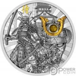 SAMURAI Guerreros Warriors 2 Oz Moneda Plata 5$ Niue 2019