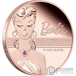 BARBIE 60th Anniversary 2 Oz Gold Coin 500$ Tuvalu 2019