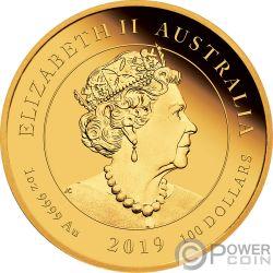 MOON LANDING Луна 50 Годовщина 1 Oz Монета Золото100$ Австралия2019