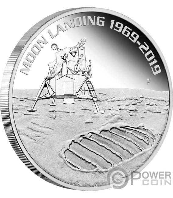 MOON LANDING 50th Anniversary 1 Oz Silver Coin 1$ Australia 2019
