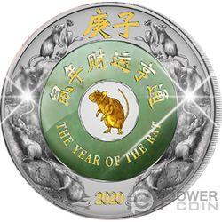 RAT Rata Giada Jade Lunar Year 2 Oz Moneda Plata 2000 Kip Laos 2020
