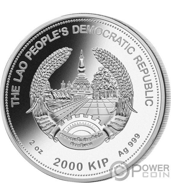 RAT Jade Lunar Year 2 Oz Silver Coin 2000 Kip Lao Laos 2020