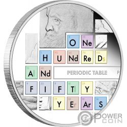 PERIODIC TABLE Таблица таблицы Менделеева 150 Годовщина 1 Oz Монета Серебро 1$ Австралия 2019