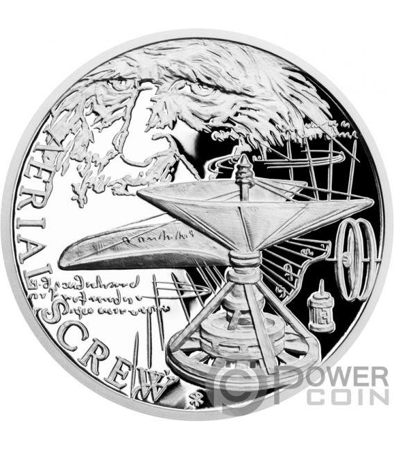 AERIAL SCREW 500th Anniversary Leonardo Da Vinci 1 Oz Moneda Plata 1$ Niue 2019