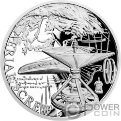 AERIAL SCREW 500th Anniversary Leonardo Da Vinci 1 Oz Moneda Plata 1$ Niue 2019