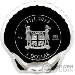 SEASHELL Muschel Colorized Castaway Silber Münze 1$ Fiji 2019